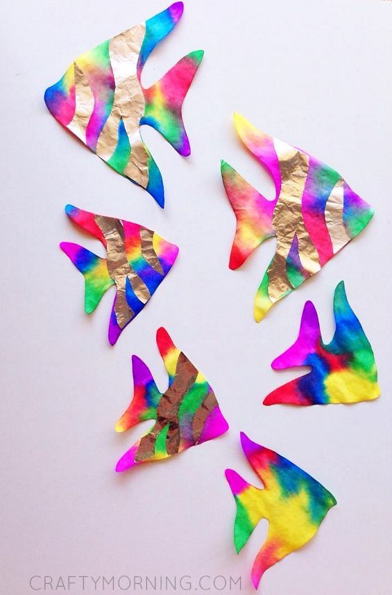 Charming Fish Craft Ideas For Kids Part - 10: Coffee Filter Rainbow Fish (Kids Craft