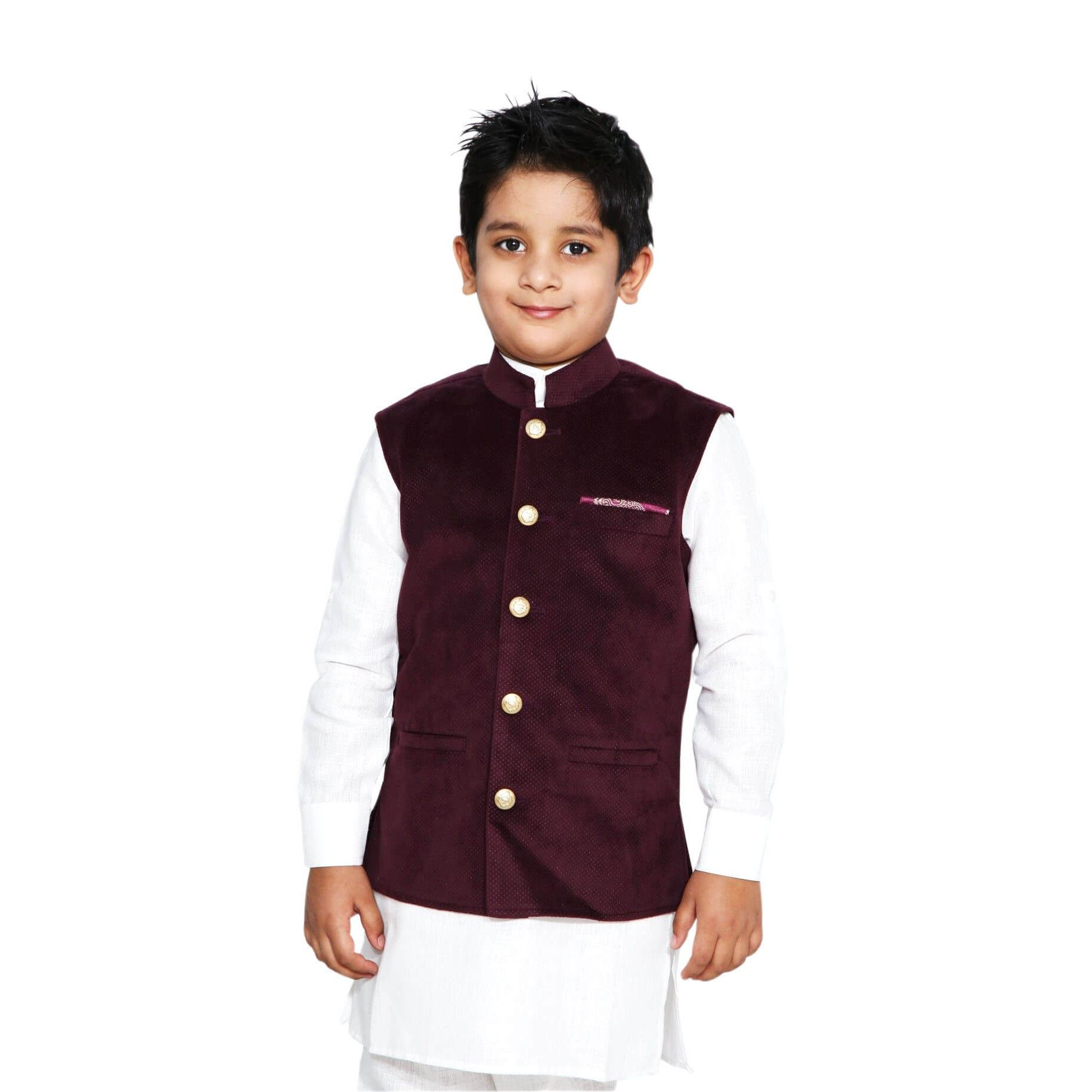 fb9a73421 Baby Boy Nehru Jacket, Maroon Party Wear Nehru Jacket for Kids, Indian  Traditional Modi Jacket, Children Ethnic Wear for Weddings & Festivals  #Benzer ...
