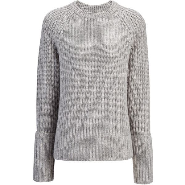 Joseph Cashmere Luxe Purl Sweater in MARBLE (£535) ❤ liked on Polyvore featuring tops, sweaters, marble, chunky gray sweater, oversize sweater, grey sweaters, chunky grey sweater and grey jumper