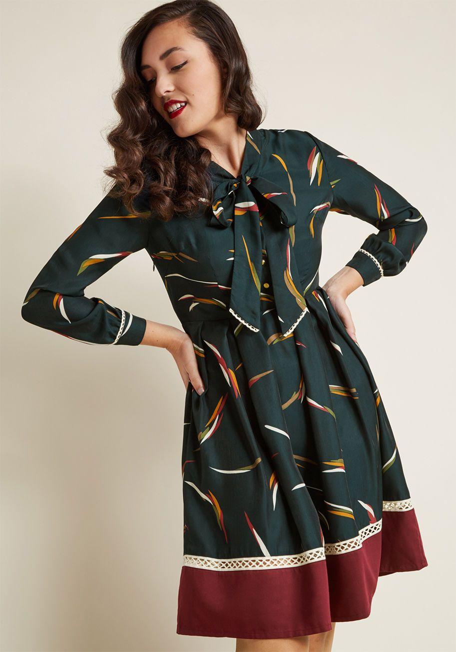 Miss patina profesh refresh pleated long sleeve dress modcloth
