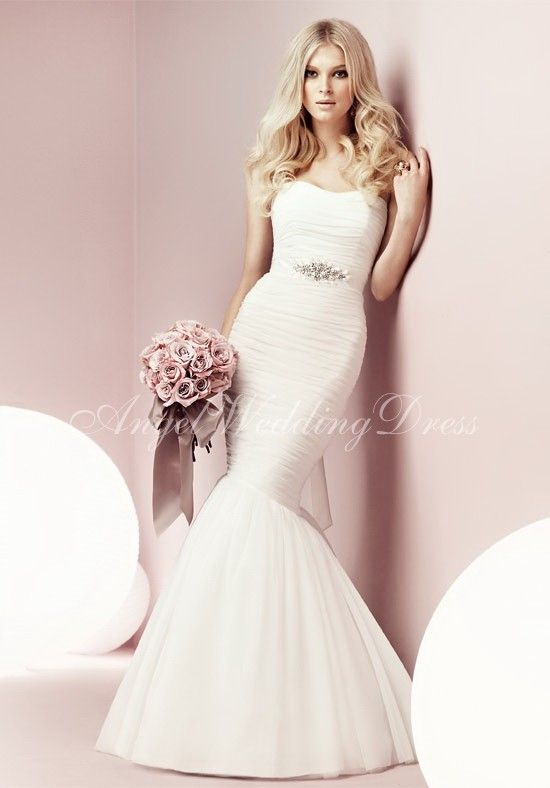 Tulle Mermaid Strapless Floor Length Beading Wedding Dress Style