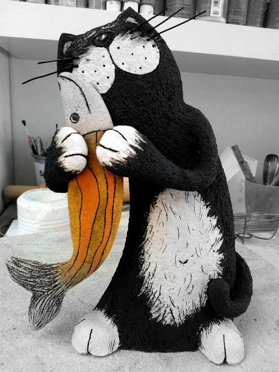 Hecho a mano de cer mica la escultura del gato gato El gato negro decoracion