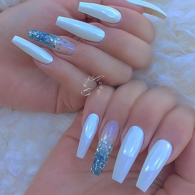 White Chrome White Chrome Nails Chrome Nails Pearl Nails
