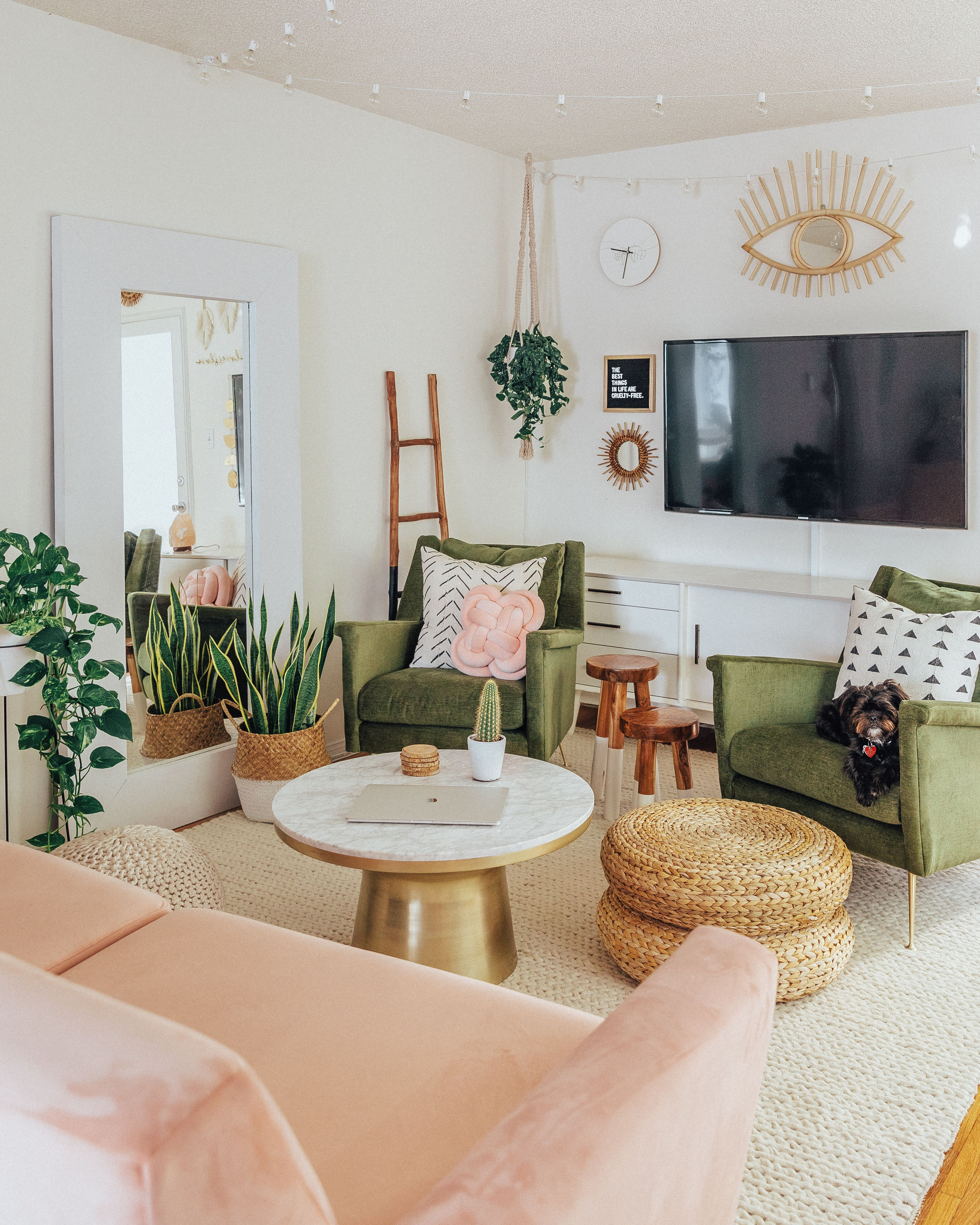 Best Bohemian Mid Century Living Room Blush Olive Green Boho 400 x 300