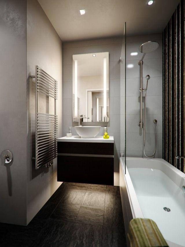 kleine bäder einrichten idee badewanne dusche trennwand waschtisch ...