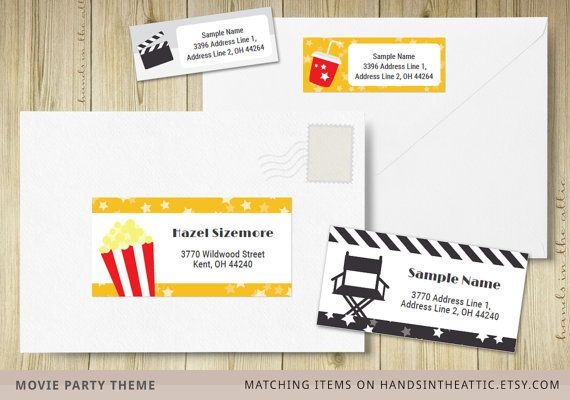Mailing Address Labels Movie Theme Party Labels Cinema Film Party
