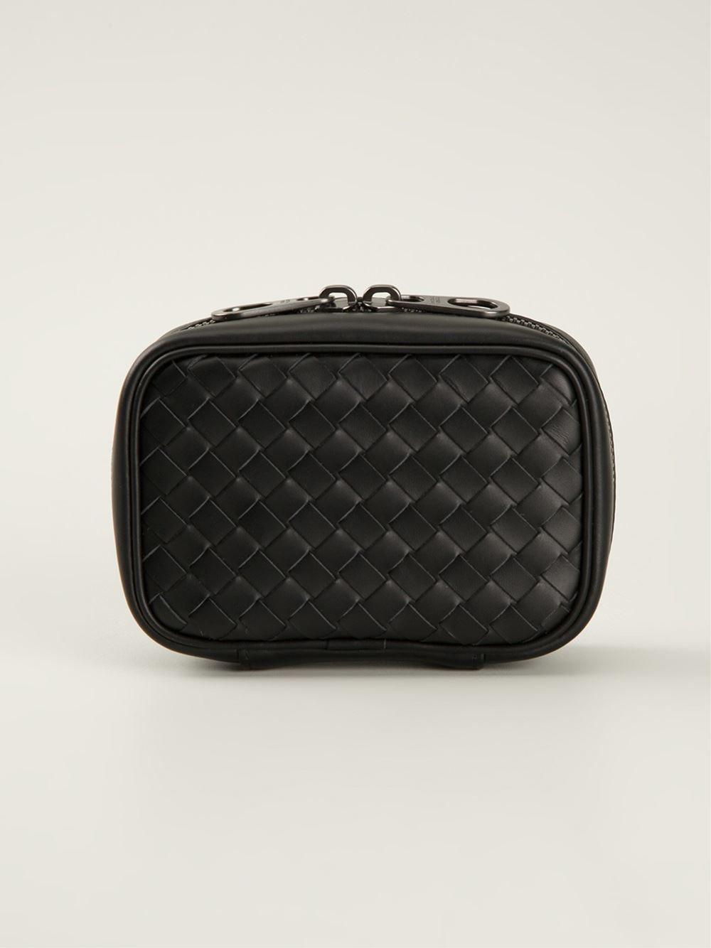 9cfeaa3fc526 Bottega Veneta Intrecciato Wash Bag in Black for Men
