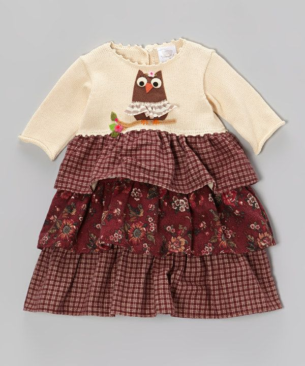 Take a look at this Ecru & Burgundy Owl Tiered Dress - Infant & Toddler on zulily today!