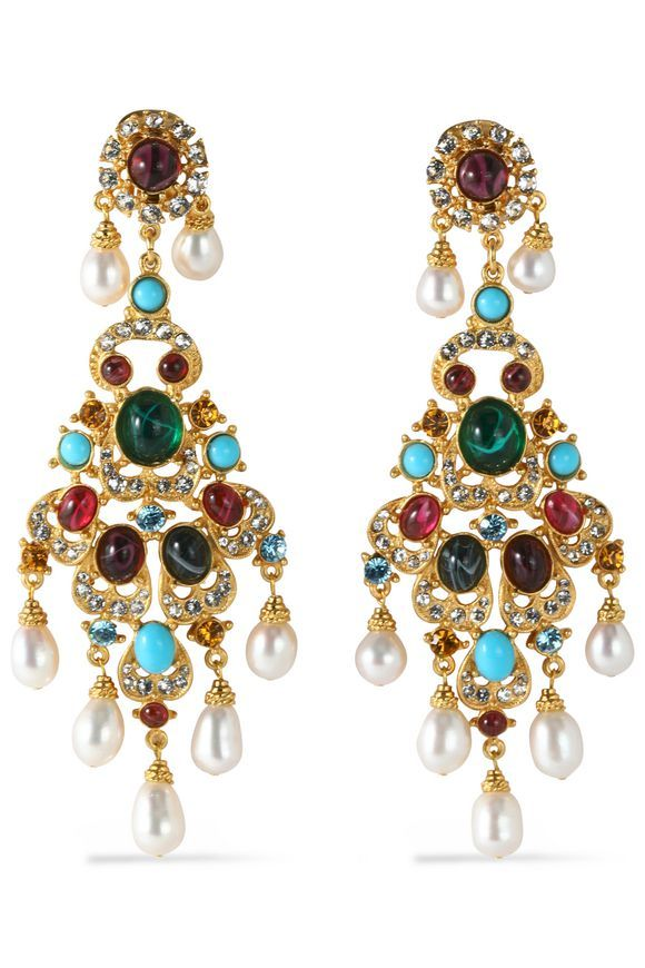 Ben-Amun Ben-amun Woman Gold-tone, Stone And Crystal Earrings Gold Size