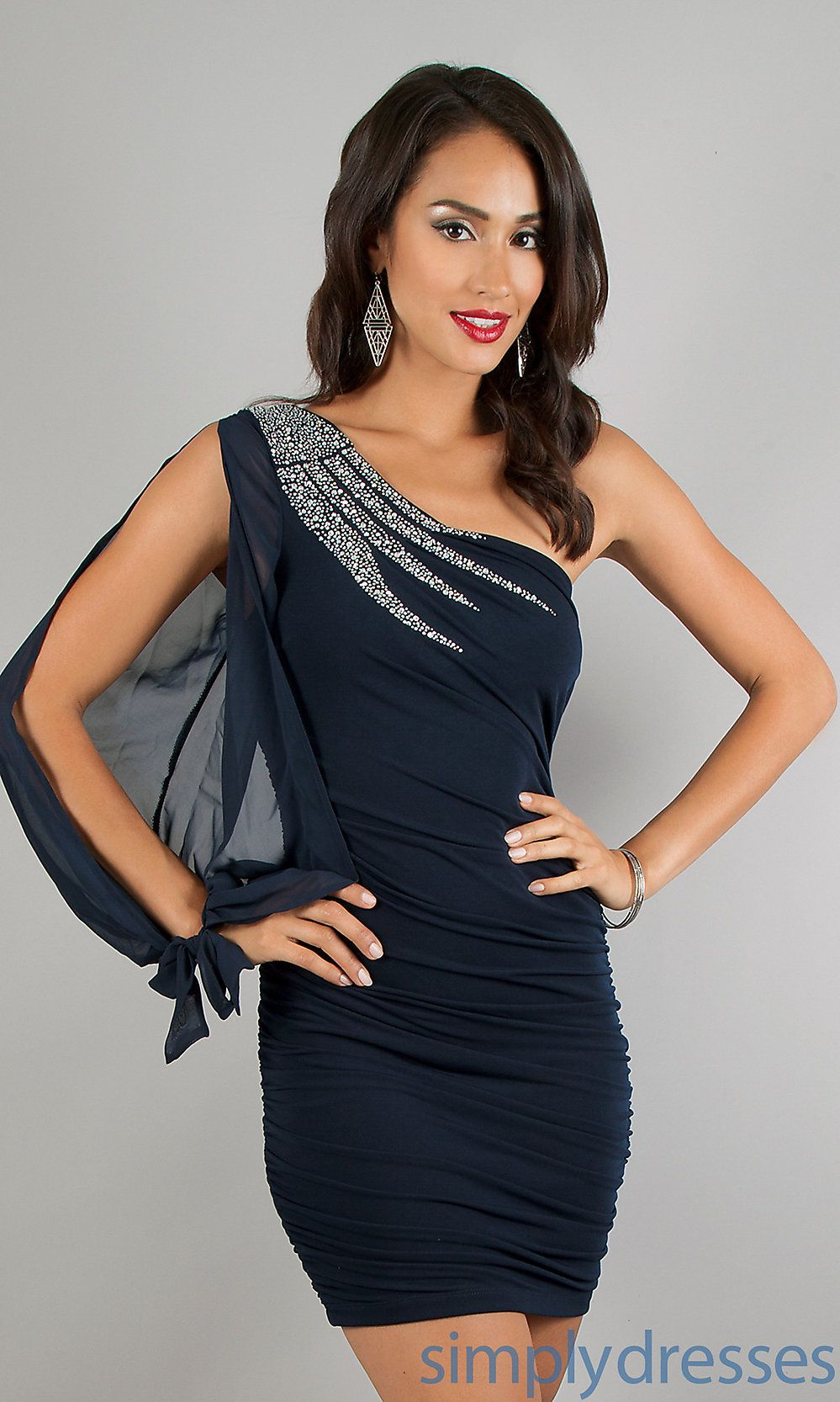 ff924e38a12 Dress, One Sleeve Short Ruched Dress - Simply Dresses | Homecoming ...