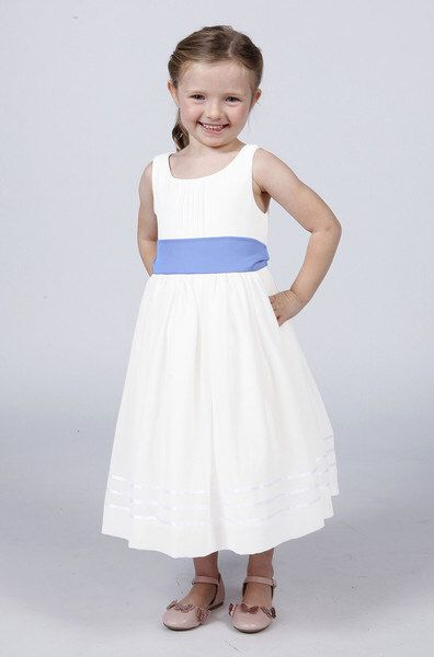 38e06cd8319 Matchimony White Flower Girl Dress with Powder Blue Sash available in 37  colours by Matchimony on
