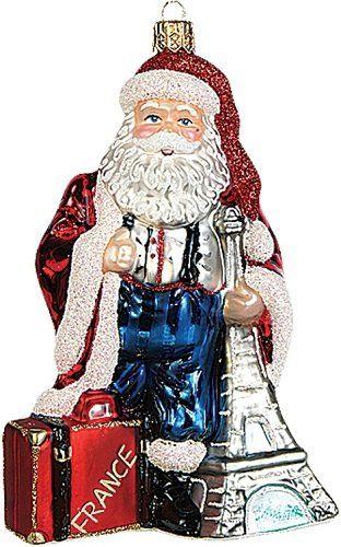 Santa in France Polish Blown Glass Christmas Ornament Eiffel Tower