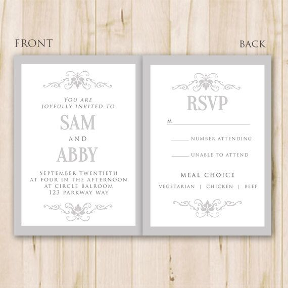 Elegant Wedding Invitation Template Photoshop Psd Instant Etsy Wedding Invitation Card Template Elegant Wedding Invitation Card Wedding Invitation Templates