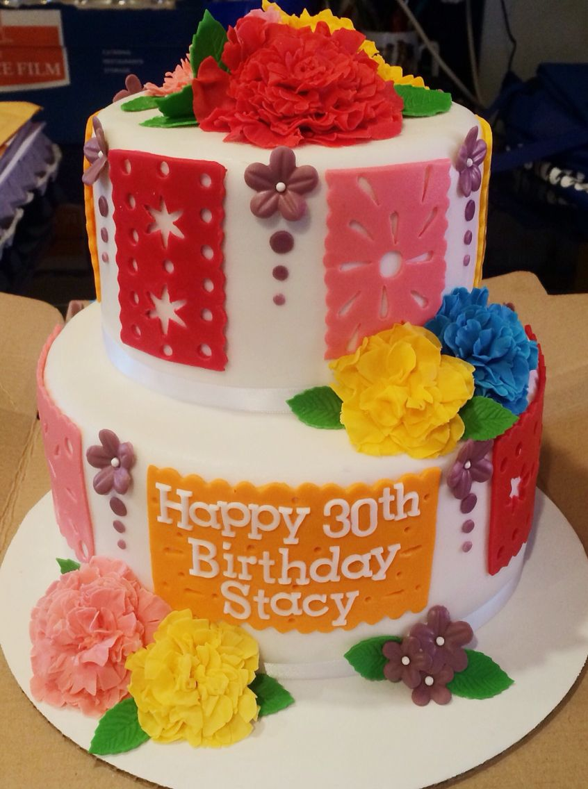 Fiesta themed birthday cake. Used fondant for all the