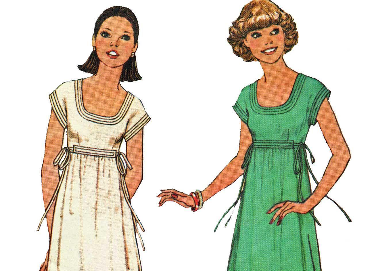 70s empire waist maxi dress pattern scoop neck cap sleeve