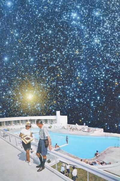 Djuno Tomsni Space Trip Art Pring,French artist Djuno Tomsni imagines the perfect summer vacation in outer space with his hand-made collages from vintage holiday brochures and photo albums. ,Space Vacations Space Trips, summer vacations outer space,