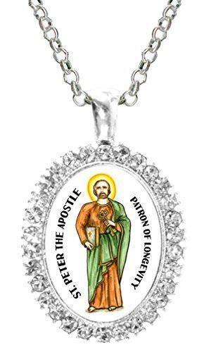 St Peter Apostle Patron of Longevity Cz Crystal Silver Necklace Pendant