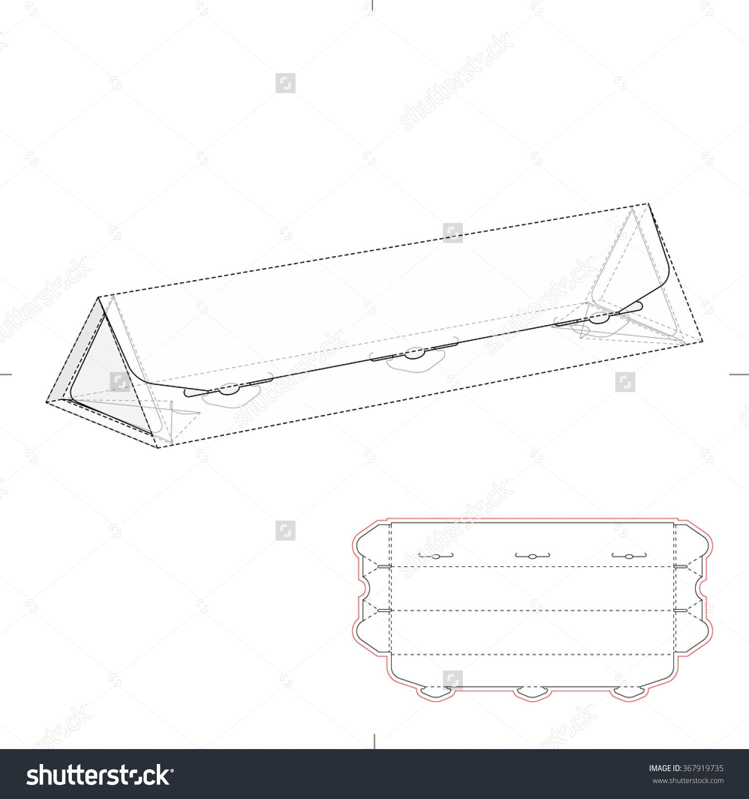 Triangular Tube With Die Cut Template Stock Vector Illustration 367919735 : Shutterstock