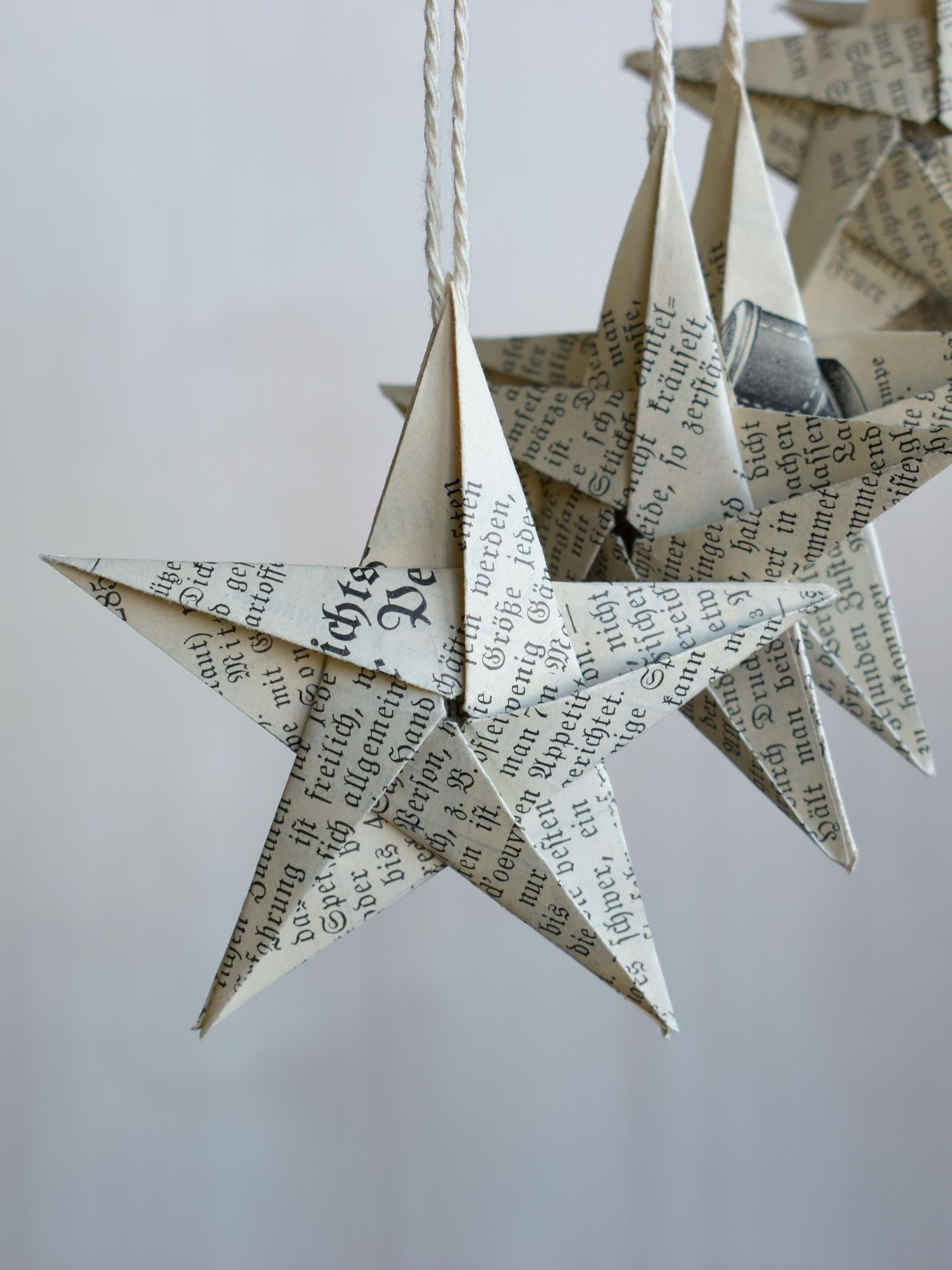 Origami Stars Antique Book Page Hanging Ornaments From Oldpapercrafts Hanging Origami Origami Stars Paper Christmas Ornaments