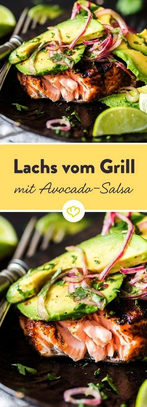 carb - grilled salmon with avocado salsa -  You can't go wrong with this recipe. Salmon and avocado