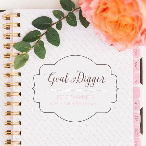 2017 - Goal Digger! WEEKLY Agenda - The Goldie, White|Gold Polka Dot