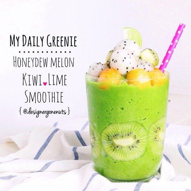 Honeydew Melon Kiwi Lime green smoothie