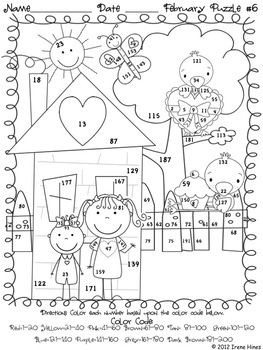 fabulous february fun winter math printables color by the code puzzles counting money. Black Bedroom Furniture Sets. Home Design Ideas