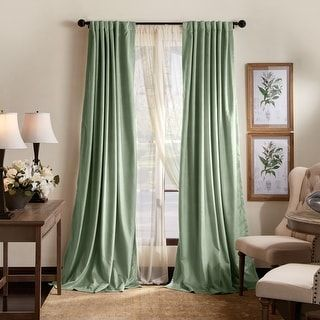 Martha Stewart Lucca Velvet Blackout Back Tab Curtains - Panel Pair or Valance (84-inch - Green)(Polyester, Solid) -   17 sage green living room decor inspiration ideas