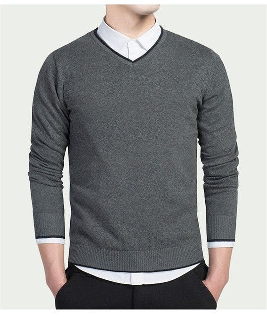 Casual Classic College Sweaters Men V-neck Formal Pullovers Winter Slim Fit  Design Gray Knitwear Men Solid b7ce16e44