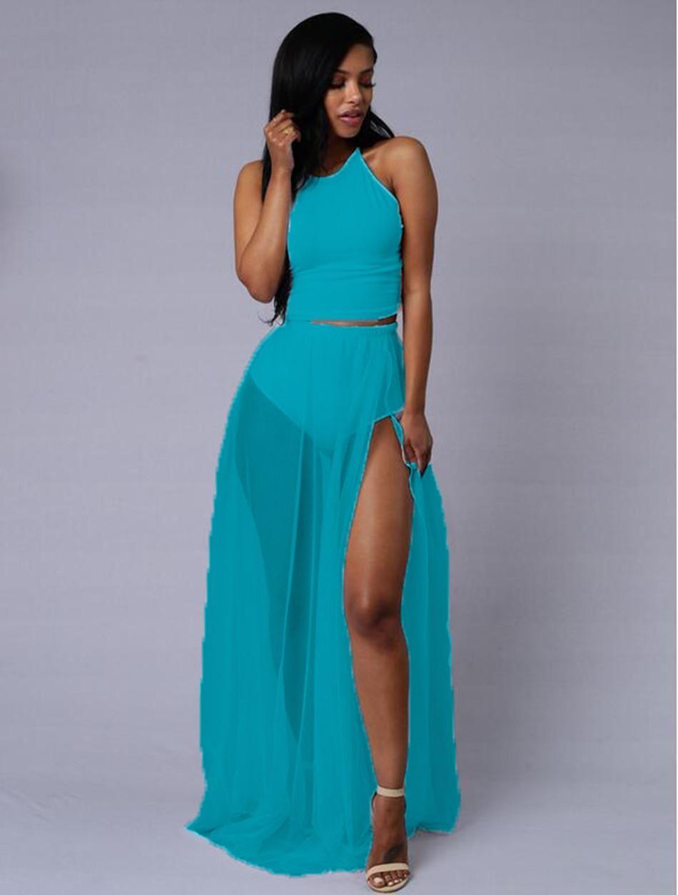 Lipsy Bodycon Maxi Dress with Chiffon Skirt in Black | Lyst ...