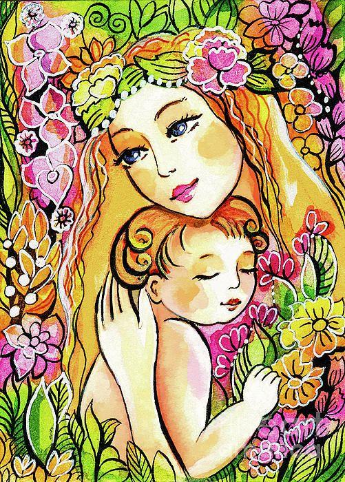 Картинка мамы с ребенком нарисованные, открытка