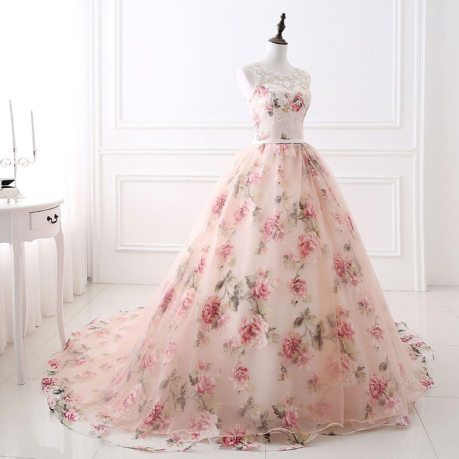 Beautiful Flower Print Floral Wedding Dress Princess Lace Pink Bridal Ball Gown Wedding Dress Ideas Bridal Ball Gown Floral Dress Formal Pink Prom Dresses