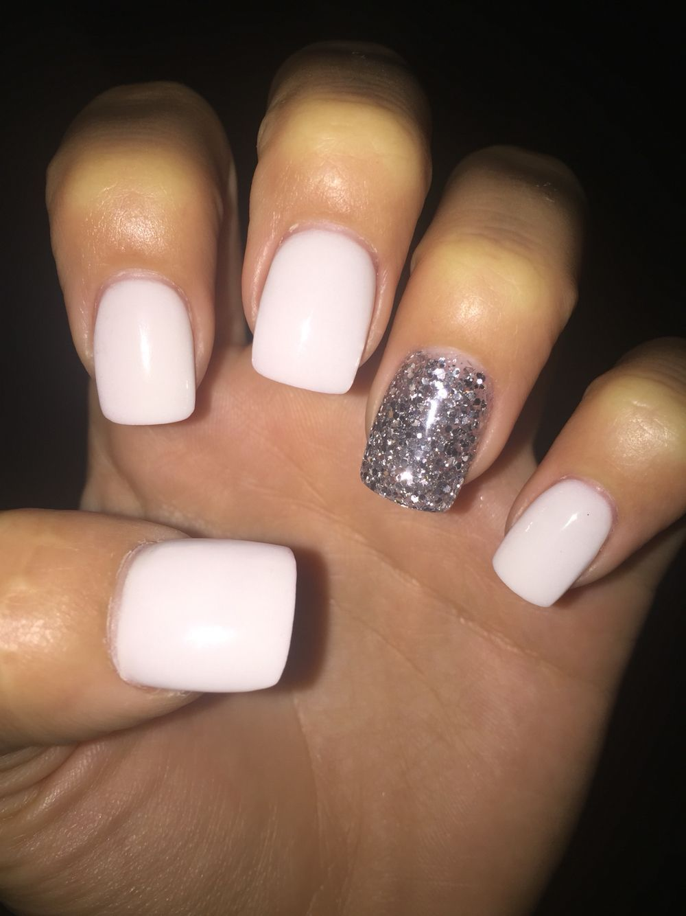 White Acrylic With Silver Sparkly Acrylic Sparkly Acrylic Nails White Acrylic Nails Short Square Acrylic Nails