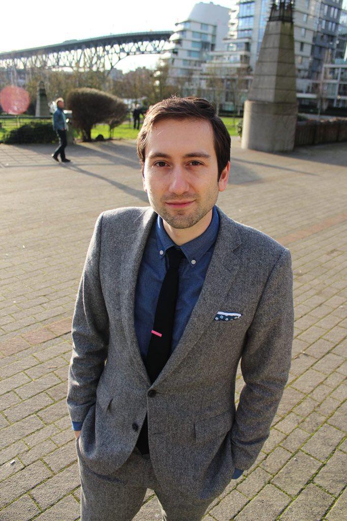Tweed Suit Blue Oxford Shirt Black Tie Floral Pocket