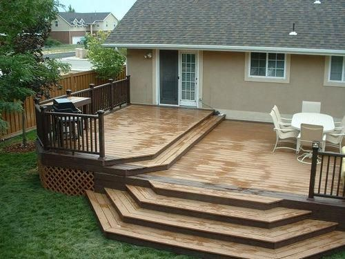 Trex Woodland Brown and Saddle Deck with Woodland Brown Designer Railing -   17 garden design Simple decks