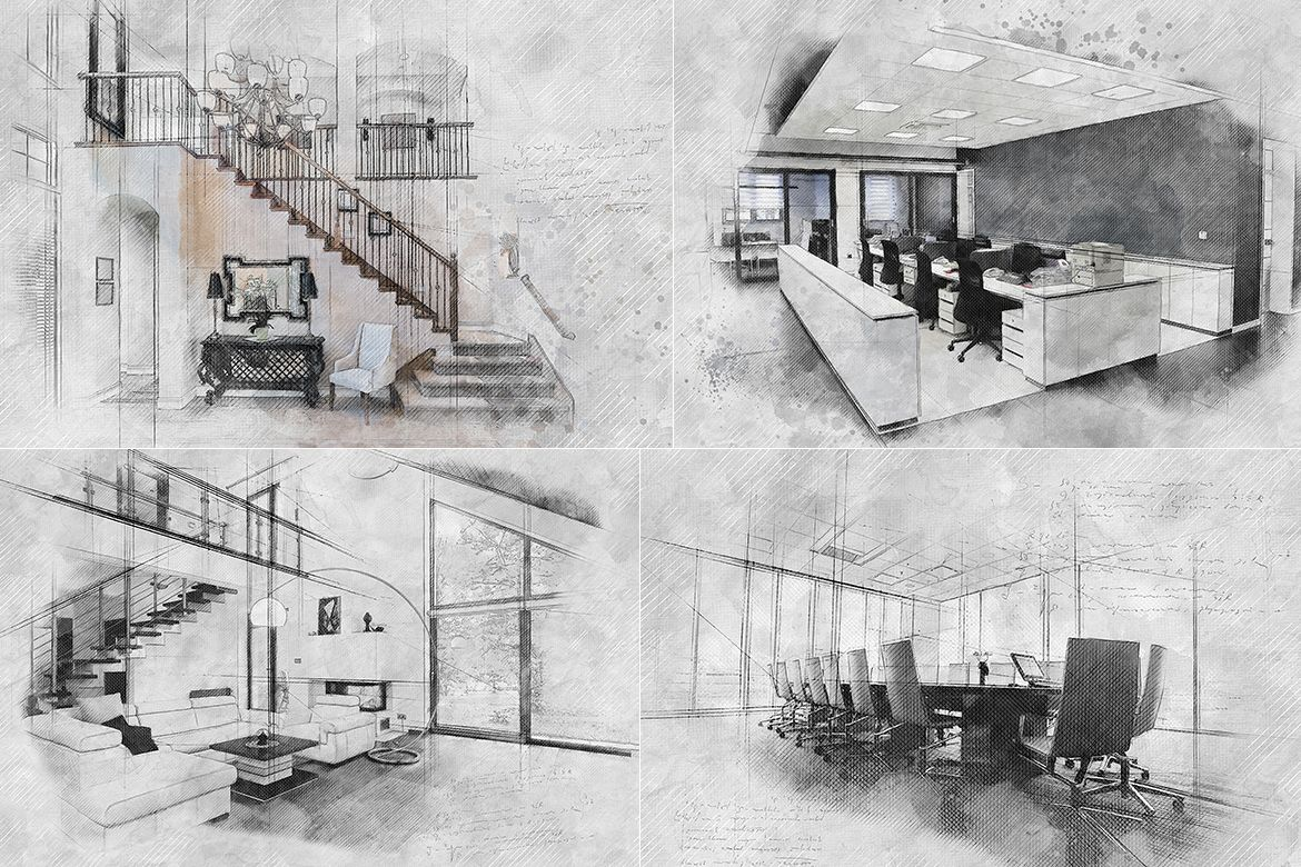 Archi Sketch Photoshop Action In 2020 With Images Sketch