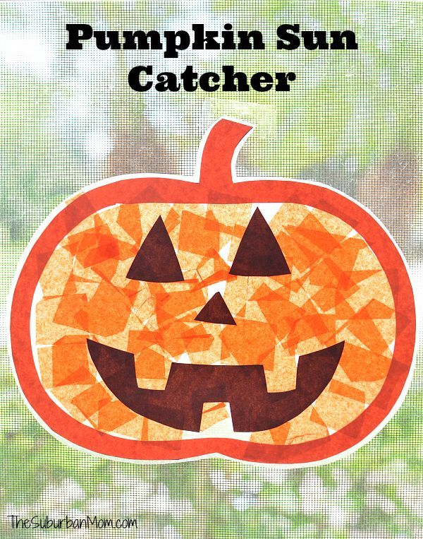 Pumpkin Sun Catcher Kids Craft Halloween Decoration Halloween kids - easy homemade halloween decorations for kids