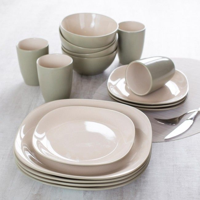 Thomson Pottery Fontana Stoneware Dinnerware - Set of 16 (Seagrass) & Update your dinnerware with this set of casual contemporary Thomson ...