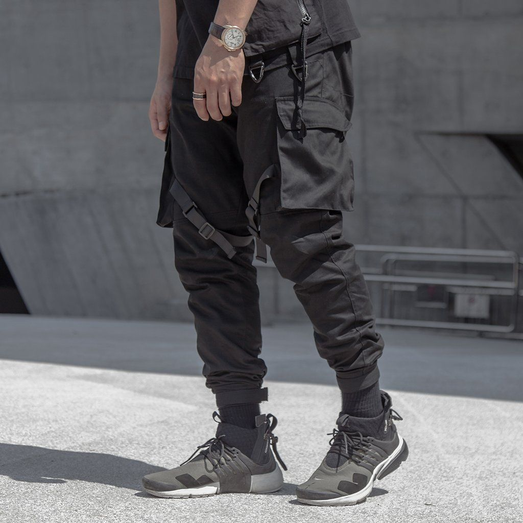 Men's Clothing Pants Latest Collection Of Only Discount Today Cargo Pants For Men Black Japanese Style Fashion High Street Stripe Pocket Homme Cargo Pants Zipper Elastic