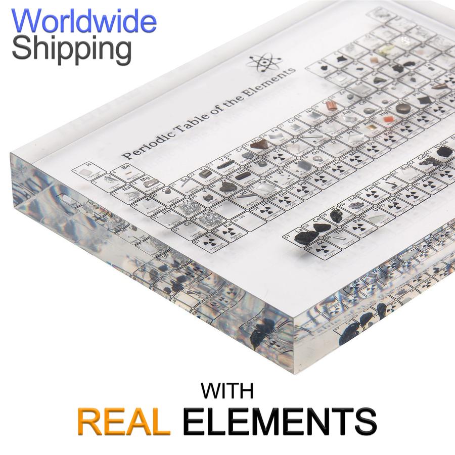 Lisorael 2nd Edition Periodic Table Display With Real Elements Lisorael Table Display Class Decoration Periodic Elements