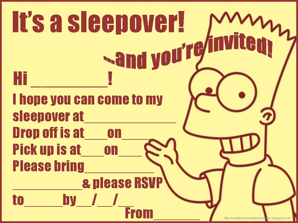 And Another Slumber Party Invite For Boys Sleepover