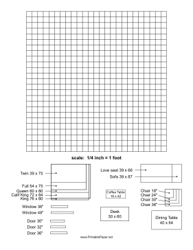 This Printable Graph Paper Has Miniature Furniture Pictures That Can Be Arranged And Rearranged For Home Planners Interior Decorators