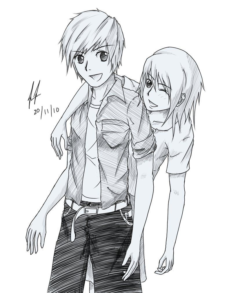 Sketch Friendship Girl And Boy Black And White