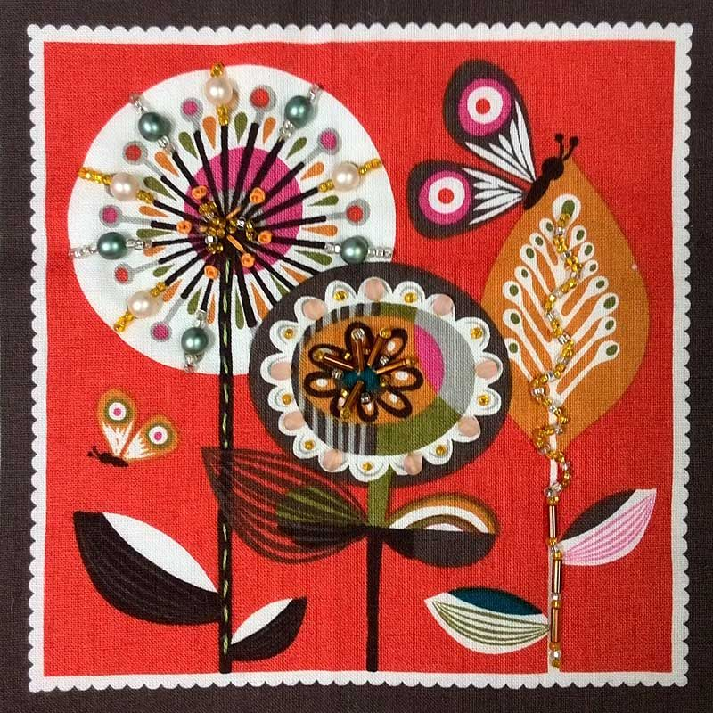 Retro fabric panel beaded and embellished by Diane Herbort
