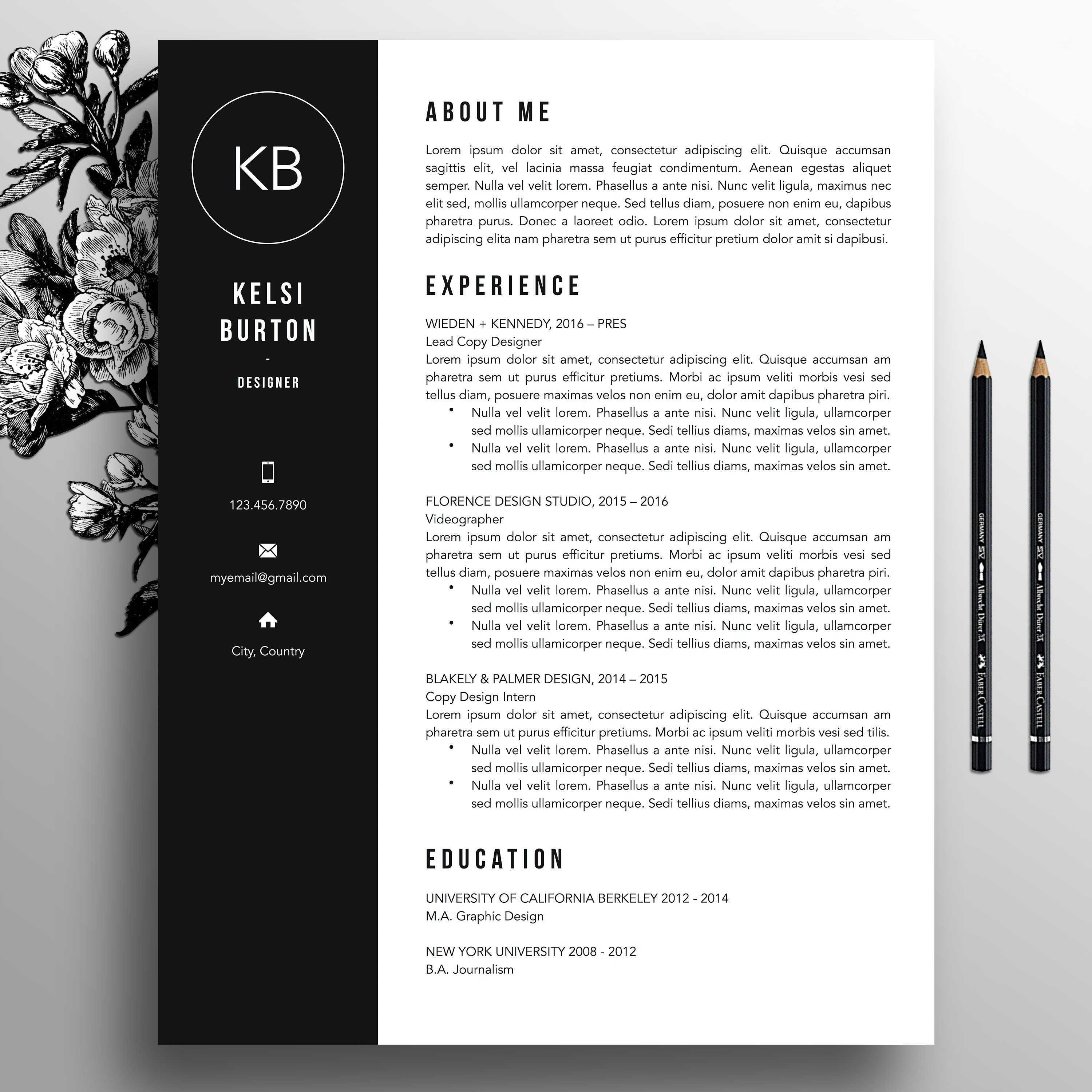 Professional Resume Template  Cover Letter Template References Ms