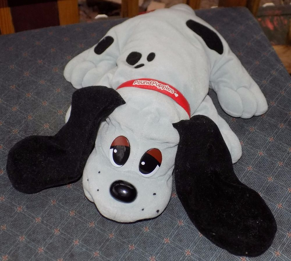 "14"" Galoob GREY & BLACK Ears PLUSH Pound Puppies PUPPY Red Collar"