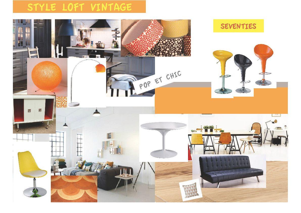 planche ambiance pour un s jour cuisine am ricaine dans un style vintage loft by l 39 effet. Black Bedroom Furniture Sets. Home Design Ideas