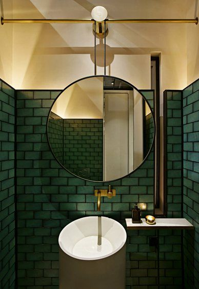 Color Spotlight Hunter Green Fireclay Tile Green Tile Bathroom Restaurant Bathroom Bathroom Inspiration