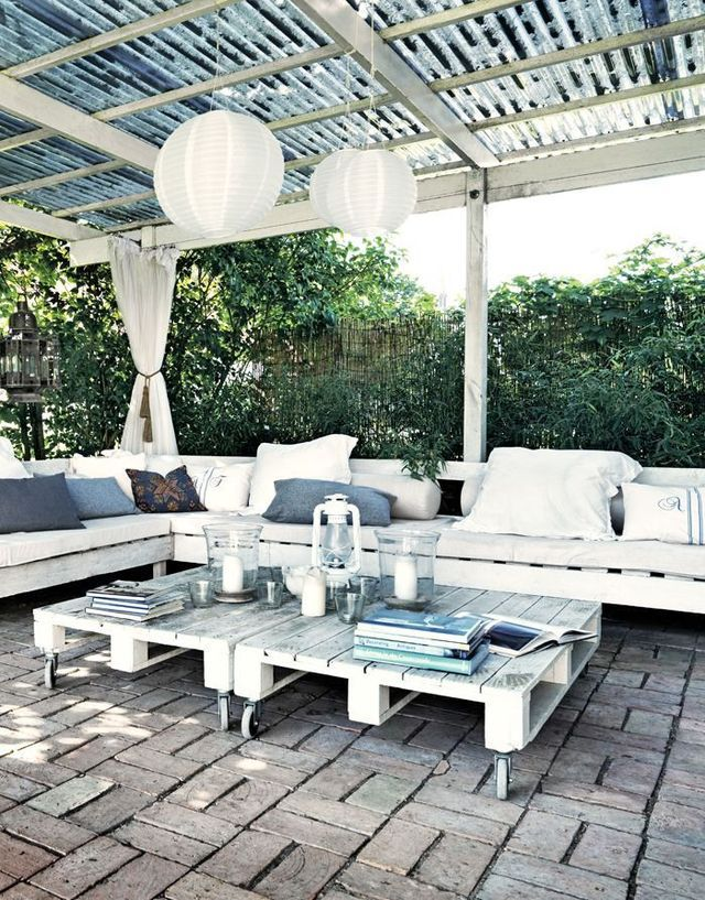 Meuble de jardin en palette de bois | Verandas, Pallets and Patios