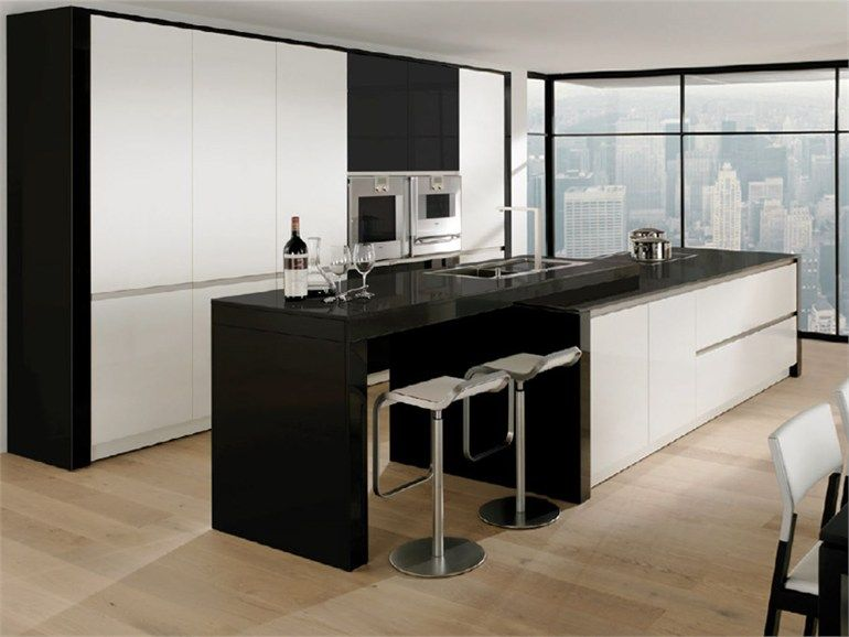 Lacquered Kitchen With Island Modern Art High Gloss Modern Art